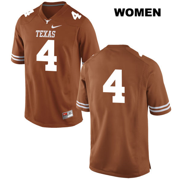 Anthony Cook Nike Texas Longhorns Stitched no. 4 Womens Orange Authentic College Football Jersey - No Name - Anthony Cook Jersey