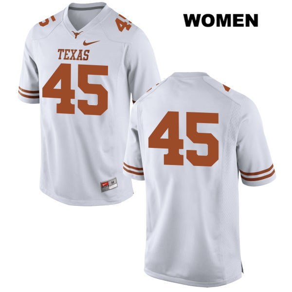 Nike Anthony Wheeler Texas Longhorns no. 45 Womens White Stitched Authentic College Football Jersey - No Name - Anthony Wheeler Jersey