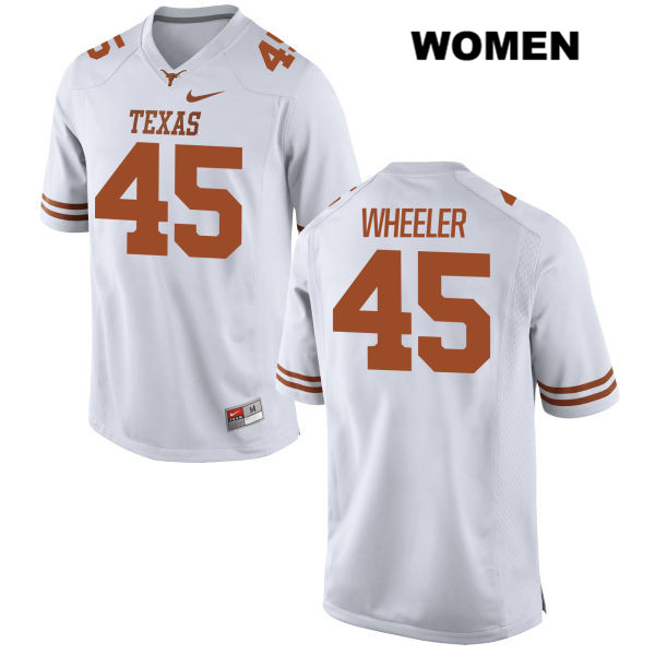 Anthony Wheeler Nike Texas Longhorns no. 45 Stitched Womens White Authentic College Football Jersey - Anthony Wheeler Jersey