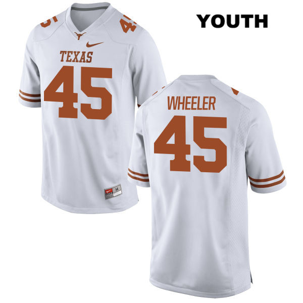 Anthony Wheeler Texas Longhorns no. 45 Stitched Youth Nike White Authentic College Football Jersey - Anthony Wheeler Jersey