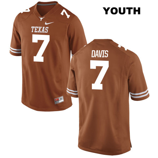 Nike Antwuan Davis Texas Longhorns no. 7 Youth Orange Stitched Authentic College Football Jersey - Antwuan Davis Jersey