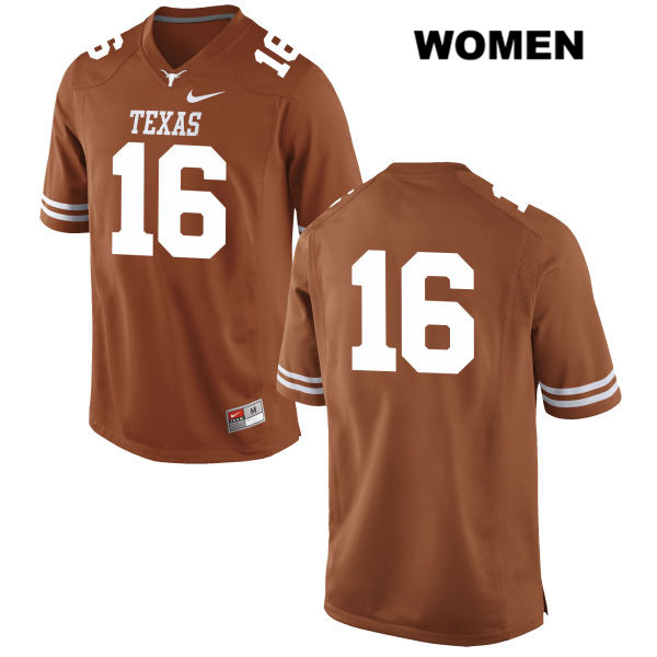 Blake Nevins Nike Texas Longhorns Stitched no. 16 Womens Orange Authentic College Football Jersey - No Name