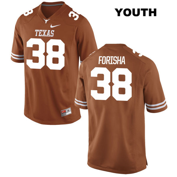Stitched Caden Forisha Texas Longhorns no. 38 Youth Nike Orange Authentic College Football Jersey