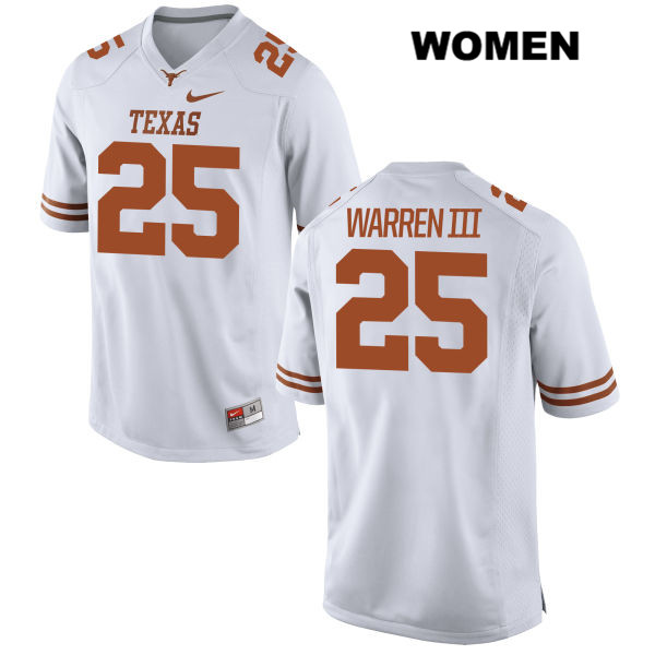 Chris Warren III Stitched Texas Longhorns no. 25 Womens White Nike Authentic College Football Jersey