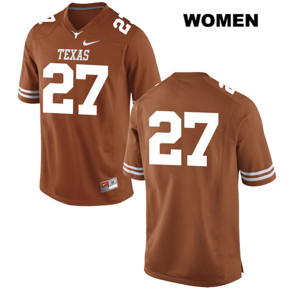 Connor Huffman Texas Longhorns no. 27 Nike Womens Orange Stitched Authentic College Football Jersey - No Name - Connor Huffman Jersey