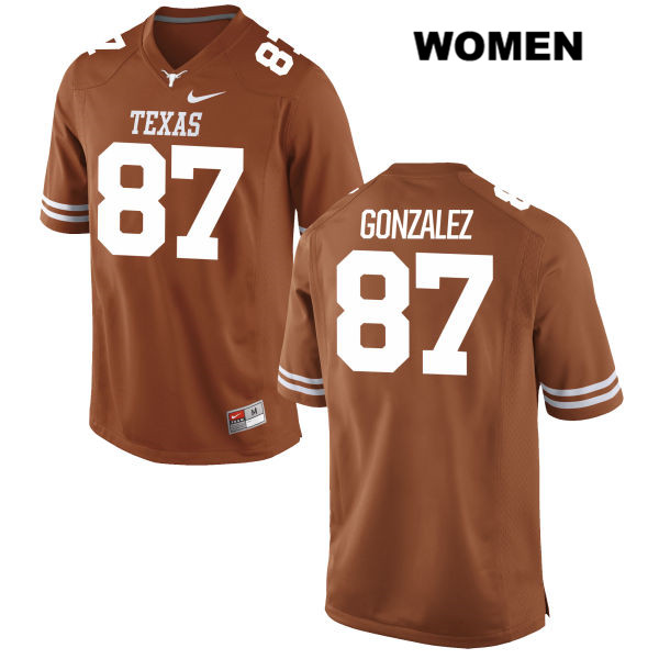 David Gonzalez Texas Longhorns no. 87 Nike Womens Stitched Orange Authentic College Football Jersey