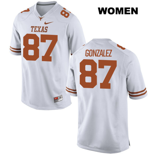Stitched David Gonzalez Texas Longhorns no. 87 Nike Womens White Authentic College Football Jersey - David Gonzalez Jersey