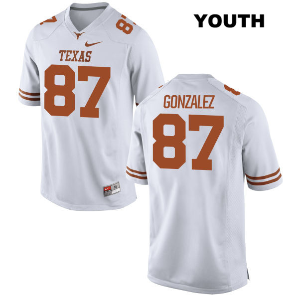 David Gonzalez Stitched Texas Longhorns Nike no. 87 Youth White Authentic College Football Jersey - David Gonzalez Jersey
