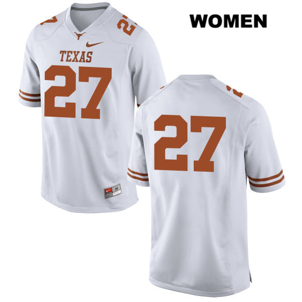 Nike Donovan Duvernay Stitched Texas Longhorns no. 27 Womens White Authentic College Football Jersey - No Name - Donovan Duvernay Jersey