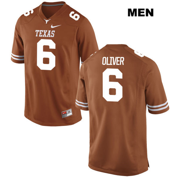 Jake Oliver Stitched Texas Longhorns no. 6 Mens Nike Orange Authentic College Football Jersey - Jake Oliver Jersey