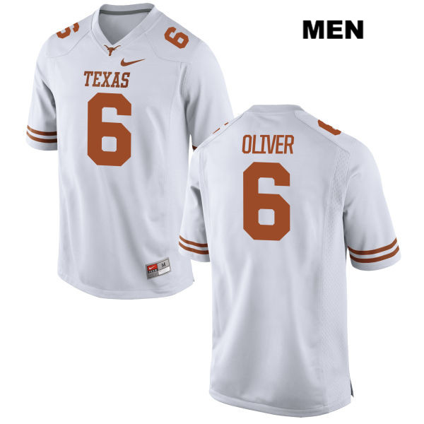 Nike Jake Oliver Texas Longhorns no. 6 Mens Stitched White Authentic College Football Jersey - Jake Oliver Jersey