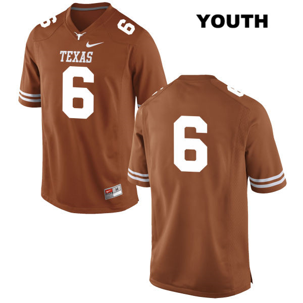 Nike Jake Oliver Stitched Texas Longhorns no. 6 Youth Orange Authentic College Football Jersey - No Name - Jake Oliver Jersey
