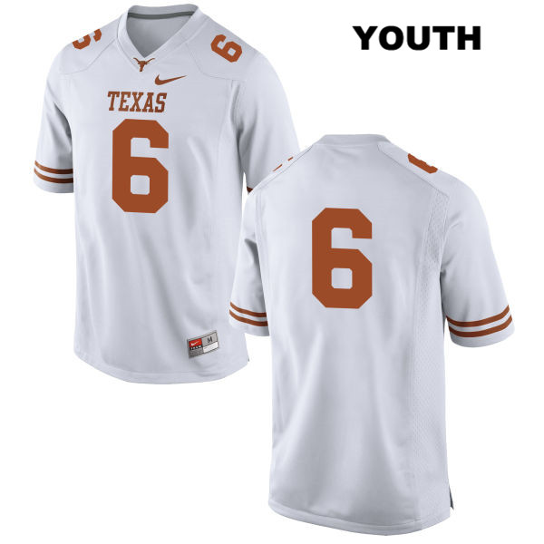 Jake Oliver Texas Longhorns no. 6 Youth Stitched White Nike Authentic College Football Jersey - No Name - Jake Oliver Jersey