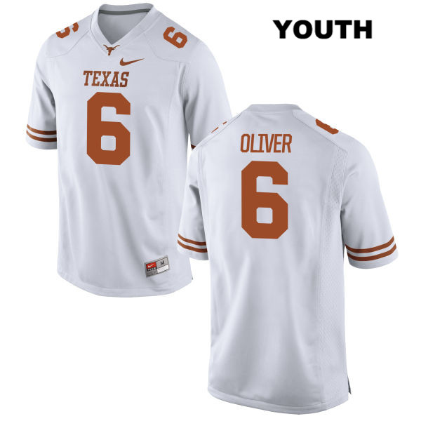 Nike Jake Oliver Texas Longhorns Stitched no. 6 Youth White Authentic College Football Jersey - Jake Oliver Jersey