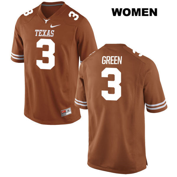 Stitched Jalen Green Texas Longhorns no. 3 Womens Orange Nike Authentic College Football Jersey - Jalen Green Jersey
