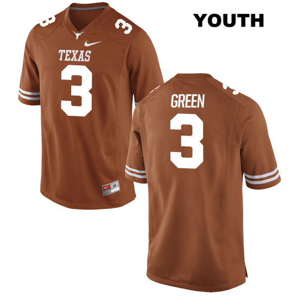 Jalen Green Stitched Texas Longhorns no. 3 Nike Youth Orange Authentic College Football Jersey - Jalen Green Jersey