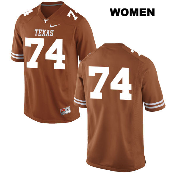 Jean Delance Stitched Texas Longhorns no. 74 Womens Orange Nike Authentic College Football Jersey - No Name - Jean Delance Jersey