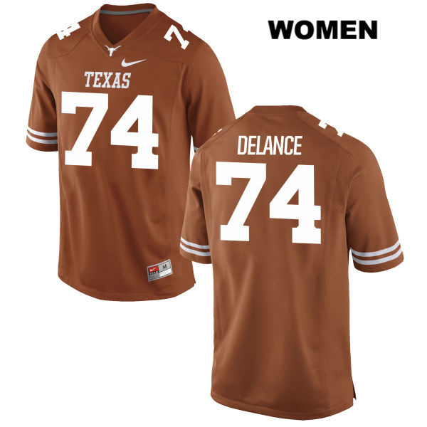 Jean Delance Stitched Texas Longhorns Nike no. 74 Womens Orange Authentic College Football Jersey - Jean Delance Jersey