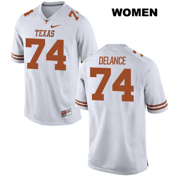 Jean Delance Texas Longhorns Stitched no. 74 Womens White Nike Authentic College Football Jersey - Jean Delance Jersey