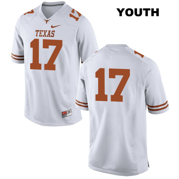 Stitched Jimmy Morton Texas Longhorns no. 17 Youth White Nike Authentic College Football Jersey - No Name - Jimmy Morton Jersey