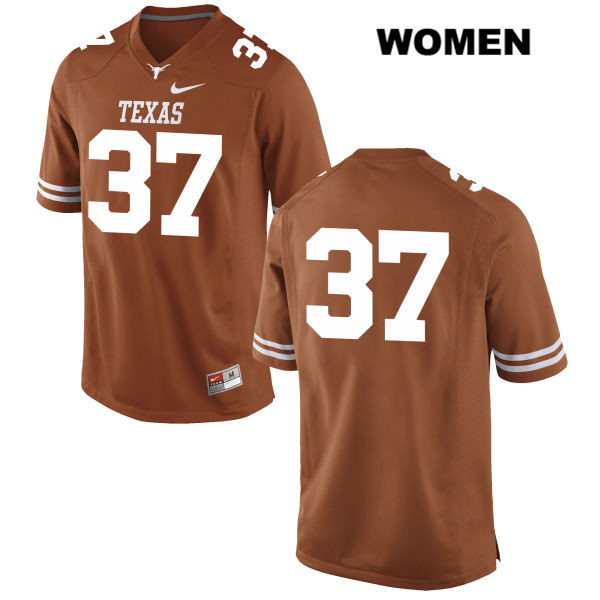 Johnny Tseng Texas Longhorns no. 37 Stitched Womens Orange Nike Authentic College Football Jersey - No Name - Johnny Tseng Jersey