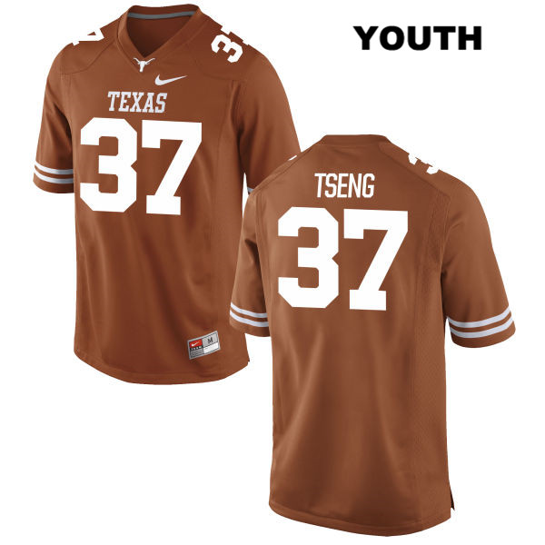 Stitched Johnny Tseng Texas Longhorns no. 37 Youth Orange Nike Authentic College Football Jersey - Johnny Tseng Jersey