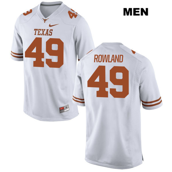 Stitched Joshua Rowland Texas Longhorns no. 49 Nike Mens White Authentic College Football Jersey - Joshua Rowland Jersey
