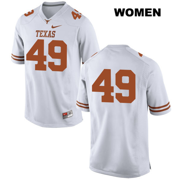Joshua Rowland Stitched Texas Longhorns Nike no. 49 Womens White Authentic College Football Jersey - No Name - Joshua Rowland Jersey