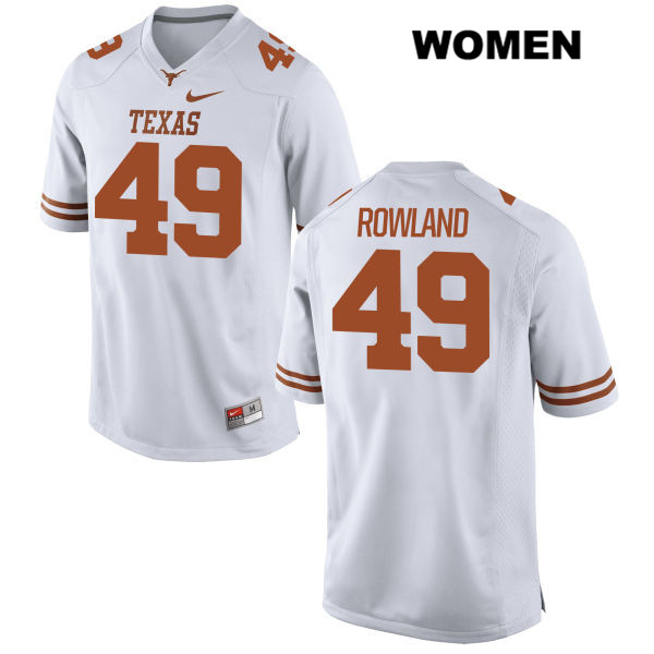 Joshua Rowland Texas Longhorns Stitched no. 49 Nike Womens White Authentic College Football Jersey - Joshua Rowland Jersey