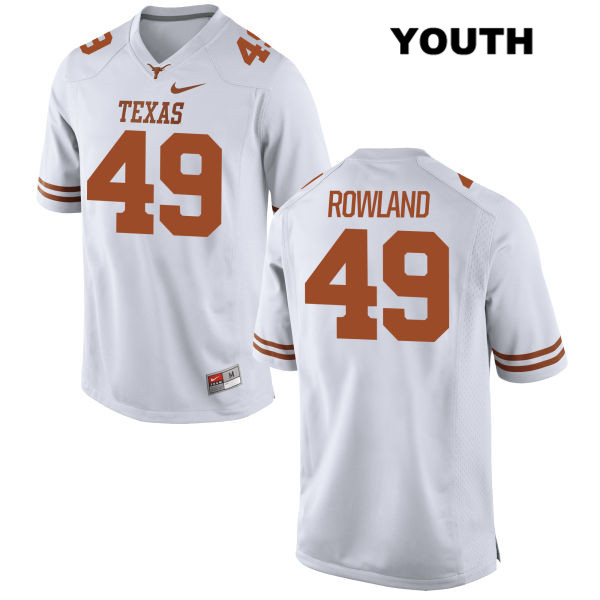 Joshua Rowland Nike Texas Longhorns Stitched no. 49 Youth White Authentic College Football Jersey - Joshua Rowland Jersey