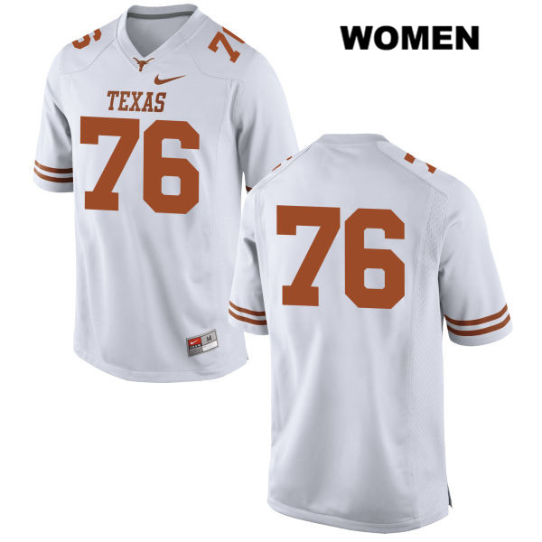 Kent Perkins Texas Longhorns Nike no. 76 Stitched Womens White Authentic College Football Jersey - No Name - Kent Perkins Jersey