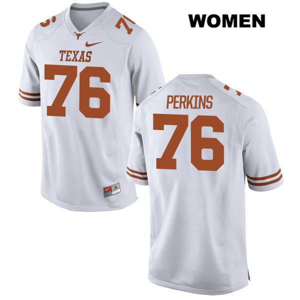 Kent Perkins Nike Texas Longhorns no. 76 Womens Stitched White Authentic College Football Jersey - Kent Perkins Jersey