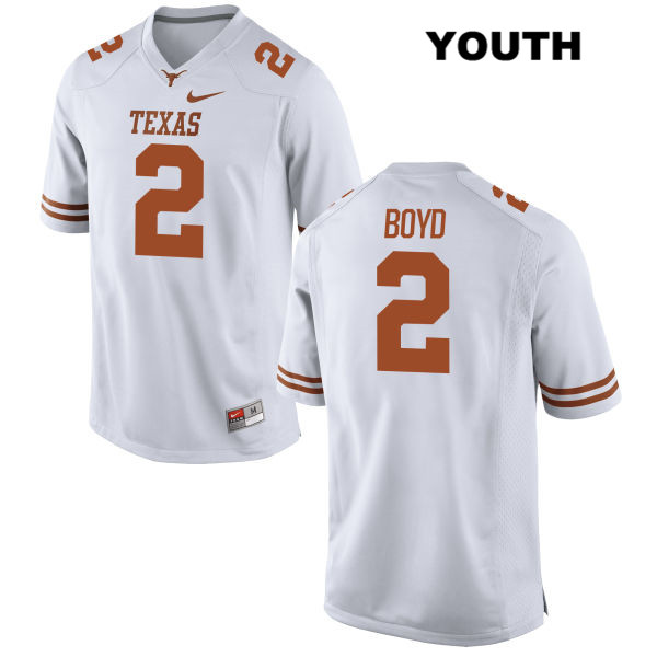 Kris Boyd Texas Longhorns no. 2 Youth White Stitched Nike Authentic College Football Jersey