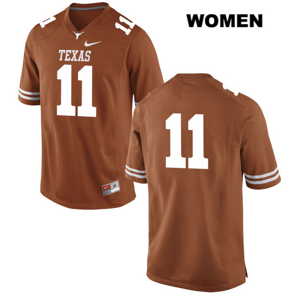 Logan Vinklarek Texas Longhorns no. 11 Womens Stitched Orange Nike Authentic College Football Jersey - No Name