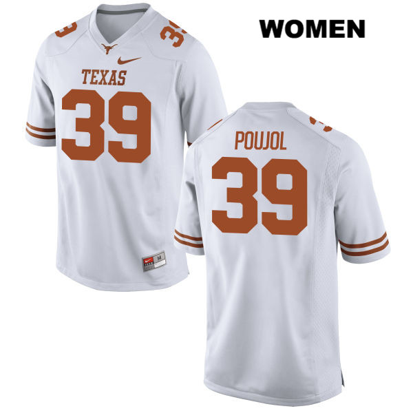 Michael Poujol Texas Longhorns Nike no. 39 Stitched Womens White Authentic College Football Jersey - Michael Poujol Jersey