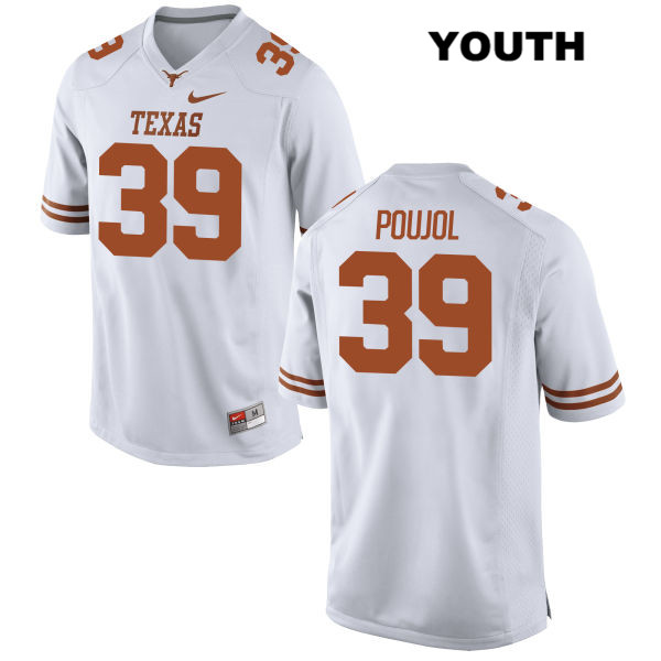 Stitched Michael Poujol Texas Longhorns no. 39 Youth Nike White Authentic College Football Jersey - Michael Poujol Jersey