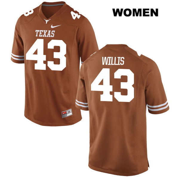 Robert Willis Texas Longhorns Stitched no. 43 Nike Womens Orange Authentic College Football Jersey