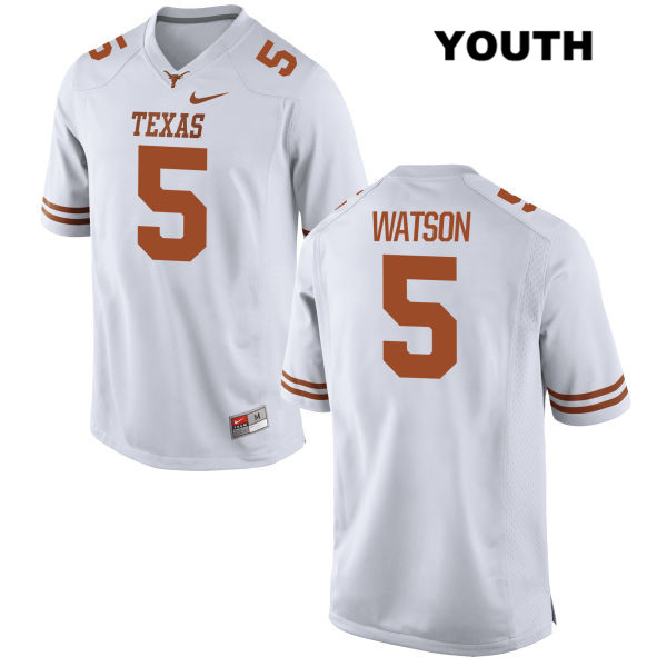 Tre Watson Stitched Texas Longhorns no. 5 Youth White Nike Authentic College Football Jersey - Tre Watson Jersey
