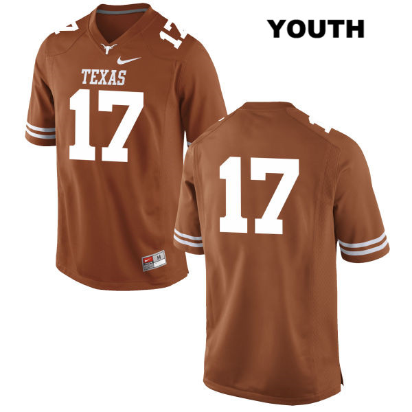 Trent Domingue Texas Longhorns no. 17 Youth Nike Orange Stitched Authentic College Football Jersey - No Name - Trent Domingue Jersey