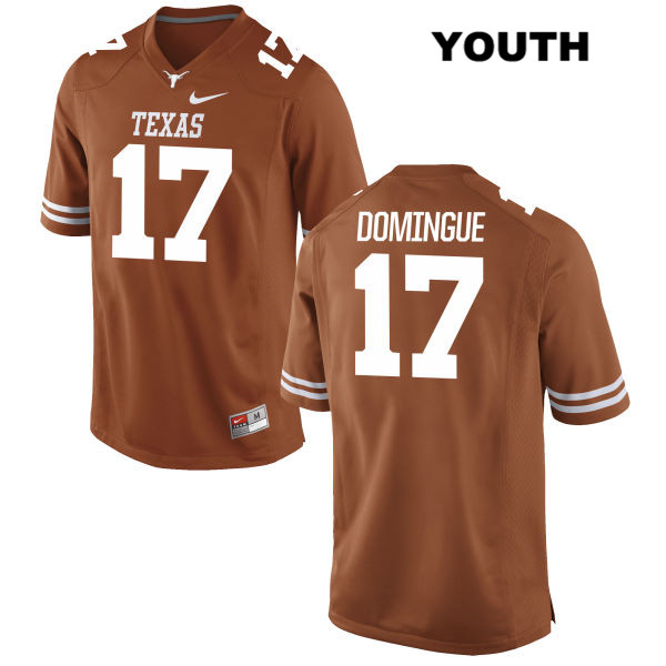Trent Domingue Texas Longhorns Nike no. 17 Youth Orange Stitched Authentic College Football Jersey - Trent Domingue Jersey