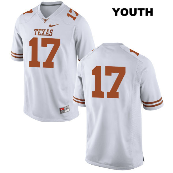 Trent Domingue Stitched Texas Longhorns no. 17 Nike Youth White Authentic College Football Jersey - No Name - Trent Domingue Jersey