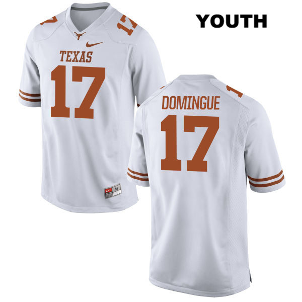 Trent Domingue Nike Texas Longhorns no. 17 Youth Stitched White Authentic College Football Jersey - Trent Domingue Jersey