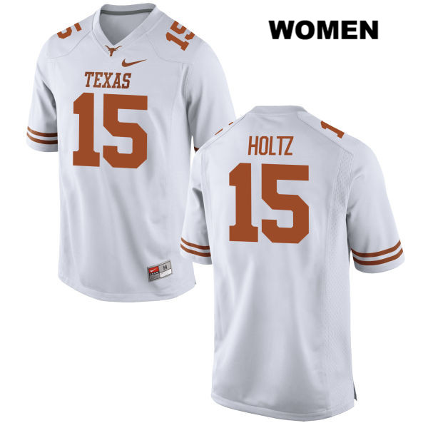 Stitched Trey Holtz Texas Longhorns no. 15 Womens White Nike Authentic College Football Jersey - Trey Holtz Jersey