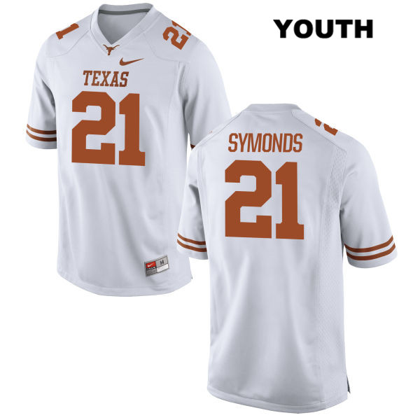 Turner Symonds Stitched Texas Longhorns no. 21 Youth Nike White Authentic College Football Jersey - Turner Symonds Jersey